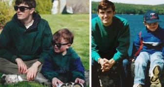 Un ragazzo ha creato dei fotomontaggi realistici che lo vedono in posa vicino a se stesso da bambino