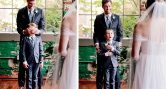 A child sees his stepmother in a wedding dress for the first time and begins to cry for joy