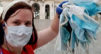 Questa donna va a lavoro a piedi raccogliendo ogni volta le mascherine che trova in giro: ne ha collezionate centinaia
