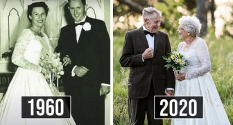 Man en vrouw vieren hun 60ste huwelijksdag door dezelfde kleding te dragen als de oorspronkelijke bruiloft