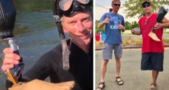 Um homem encontra a prótese de uma perna que custa $ 15.000 em um rio e consegue devolvê-la ao proprietário