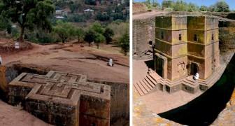 Questa antichissima chiesa è stata realizzata a partire da un unico, enorme blocco di tufo vulcanico