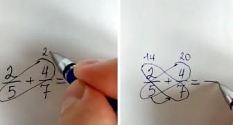 La méthode du papillon pour ajouter ou soustraire deux fractions sans calculer le plus petit dénominateur commun