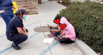 Servitriserna hittar två killar utanför restaurangen som använder deras wifi för att kunna följa sina skollektioner