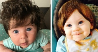 15 foto's van langharige kinderen waarbij het leek alsof ze een pruik droegen toen ze werden geboren