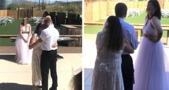 The mother-in-law dresses in a white dress and dances close to her son stealing the show from the bride during the wedding