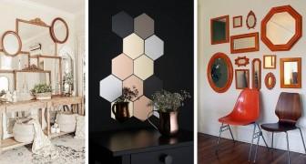 11 trovate affascinanti per creare composizioni e gallerie di specchi con cui decorare le pareti
