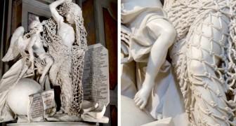 Diese Skulptur aus dem 18. Jahrhundert ist im Detail so vollendet, dass das Netz aus Marmor fast echt aussieht