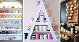11 mobili e soluzioni fai-da-te per esporre le tazze della colazione in modo creativo
