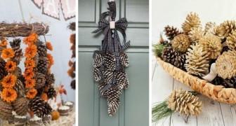 10 deliziose composizioni con le pigne per decorare la casa con la bellezza della natura