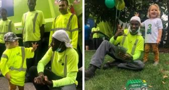 I netturbini sorprendono un bimbo di 3 anni organizzando una sfilata con i camion per il suo compleanno