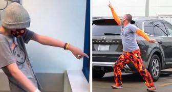 Cada vez que el hijo está en el hospital para la quimioterapia, este papá baila en el estacionamiento para estarle cerca