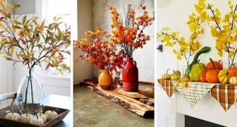 12 propositions super créatives pour décorer des vases, des cruches et des bocaux avec des branches automnales
