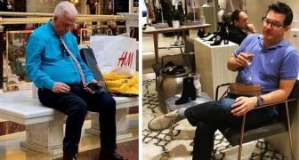 17 makar som blivit övergivna utanför en butik medan deras fruar shoppade