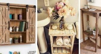 10 soluzioni ingegnose per realizzare mobili per il bagno riciclando il legno dei pallet