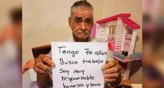 Un hombre de 70 años busca trabajo para obtener la pensión que lo espera: su foto se convierte viral