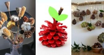 10 idées plus belles les unes que les autres pour créer des décorations avec les pommes de pin de diverses formes et couleurs