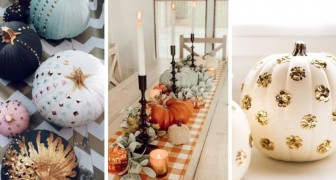 12 idées brillantes pour vos centres de table avec des citrouilles décorées de façon très particulière