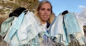 Een vrijwilligster verzamelde meer dan 650 maskers op Engelse stranden: het trieste effect van Covid op het milieu
