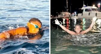 Um menino de 12 anos nada 40 km em memória de sua mãe, que morreu de câncer de mama