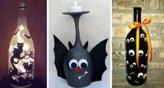 13 astuces pour recycler des verres et des bouteilles en verre et pour les transformer en décorations d'Halloween