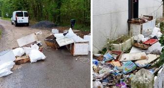 Um homem joga lixo na mata: depois de identificá-lo, a prefeita manda descarregar tudo em seu jardim