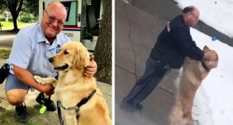 L'esilarante video di un cane che ogni giorno aspetta l'arrivo del suo amico postino per potergli fare le feste