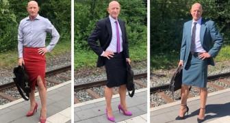 Quest'uomo è etero, sposato, con dei figli e ama includere nel suo guardaroba tacchi alti e gonne a tubino