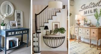 15 spunti incantevoli per sfruttare tavoli e ripiani di ogni dimensione all'ingresso di casa