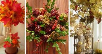 13 decorazioni una più bella dell'altra da realizzare con le foglie autunnali