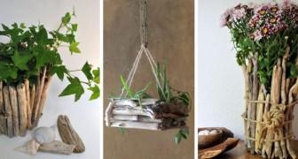 10 idee strepitose per realizzare fantastiche fioriere e portavasi col legno spiaggiato