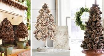 14 idee affascinanti per creare deliziosi alberi di Natale con le pigne