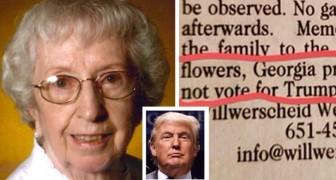 Il curioso necrologio di una nonnina di 93 anni: invece di inviare fiori, evitate di votare per Trump
