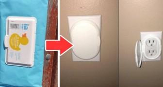 Come riusare i pacchi di salviette per bimbi come rimedio d'emergenza per coprire le prese di corrente