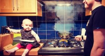Dieser Vater schickt Verwandten Fotos, auf denen die Tochter immer in Gefahr ist: aber es sind nur brillante Fotomontagen