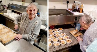 En 89-årig kvinna bakar hundratals tårtor att ge bort till de familjer i hennes stad som har de svårt