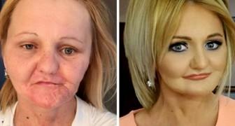 Een make-upgoochelaar slaagt erin zijn klanten om te toveren in totaal andere mensen