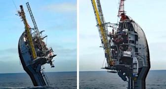 Dit bijzondere schip slaagt erin een verticale positie aan te nemen en in de oceaan te zinken om onderzoek te doen