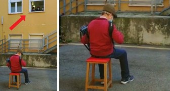 An 81-year-old man can't visit his hospitalized wife, so he serenades her from the hospital courtyard