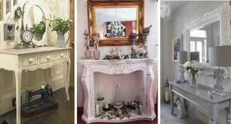 10 affascinanti allestimenti per decorare l'entrata di casa in stile shabby chic