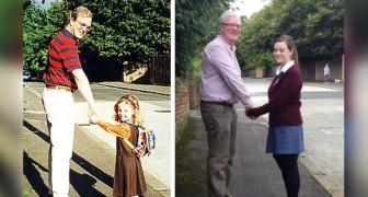Um pai muito orgulhoso recriou a mesma foto com sua filha em três momentos diferentes de sua vida