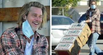 Brad Pitt è stato beccato a scaricare e a distribuire beni di prima necessità in un quartiere povero