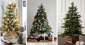 10 soluzioni scenografiche per coprire la base dell'albero di Natale con creatività