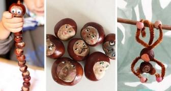 10 simpatici lavoretti da realizzare insieme ai bambini usando le castagne
