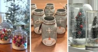 10 trovate strepitose per trasformare barattoli e contenitori di vetro in fantastiche decorazioni di Natale