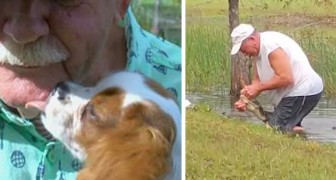 A 74-year-old man saves his dog from an alligator's jaws using only his bare hands