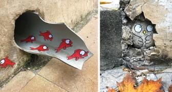 Questo artista vandalizza la città con opere originalissime che interagiscono con gli spazi urbani