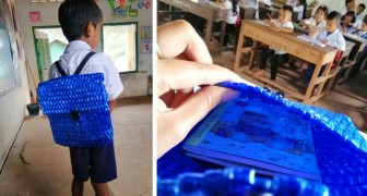 A very poor child loses the backpack he went to school with: his father spends all night sewing a new one