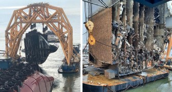 Una nave cargo capovolta viene affettata con una potentissima catena: le immagini sono impressionanti