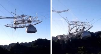 Ein riesiges Teleskop stürzt nach einem Kabelbruch zu Boden: Das Video des Einsturzes ist erschütternd